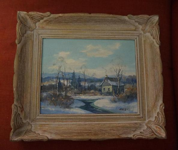 4u2c VINTAGE SIGNED PAINTING OIL ON BOARD T  ARLIS for sale in