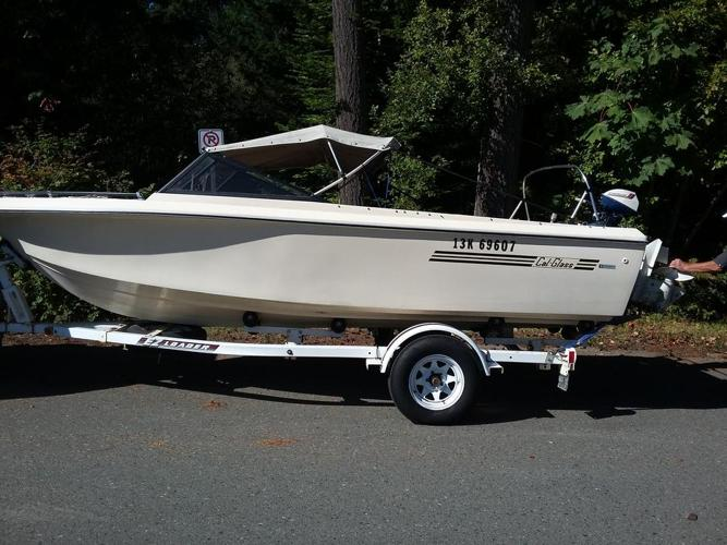 Boat-18' fiberglass boat with motor & trailer