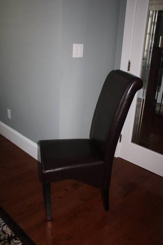 Brown Faux Leather Dining Chairs - New - $60/each