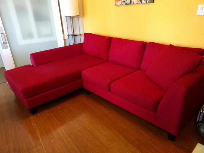 Canadian made Red sectional sofa couch