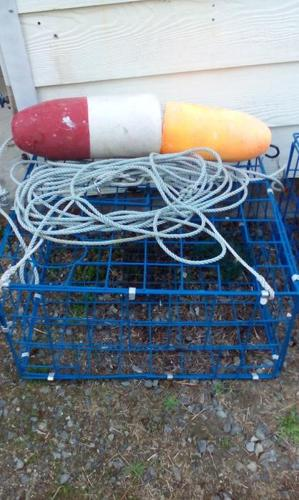 Crab trap, rope and floats