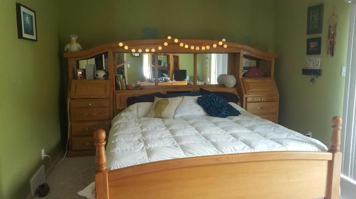 custom made solid oak kingsize bed for sale