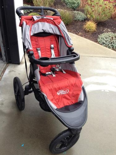 EUC Baby Jogger Summit X3 running stroller with accessories