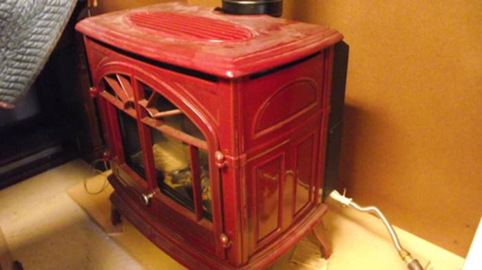 Gas Fireplace Free Standing Red Enamel Direct Vent For Sale In Armstrong British Columbia
