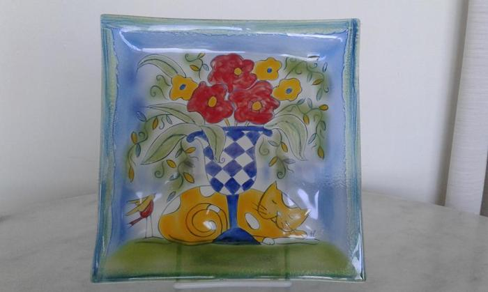 Hand painted glass plates