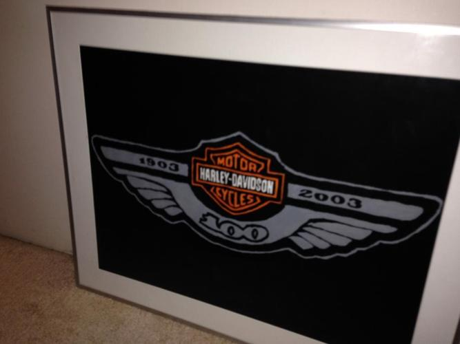 Harley Davidson 100th Anniversary Hand Painted Framed Artwork