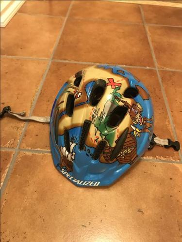 Kids Specialized bike helmet with pirate map graphics