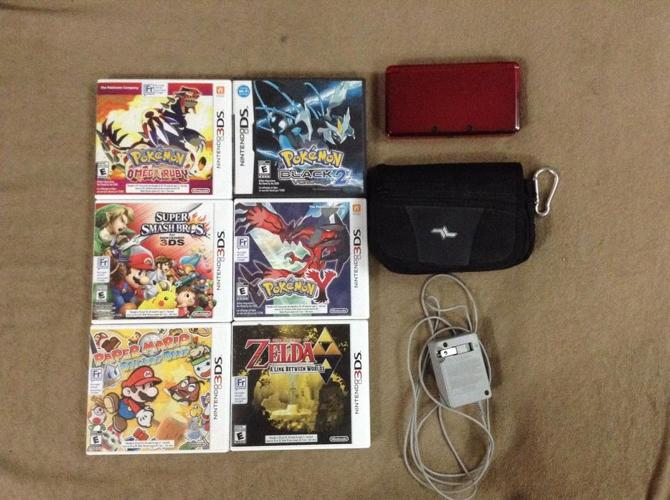 Lightly Used Shiny Red 3ds Charger, Case and Games!