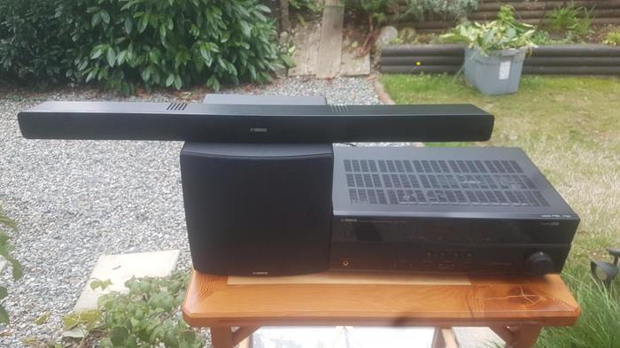 OBO Yamaha receiver, subwoofer and 3 speaker sound bar