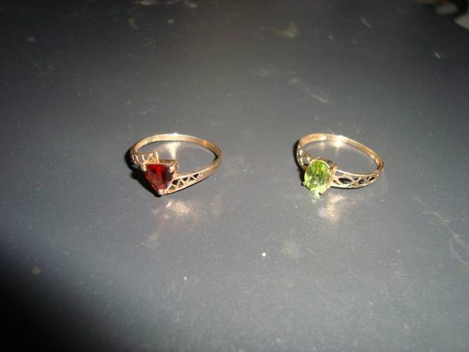 Peridot and Garnet Rings