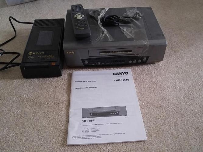 Sanyo VCR and Rewind Machine