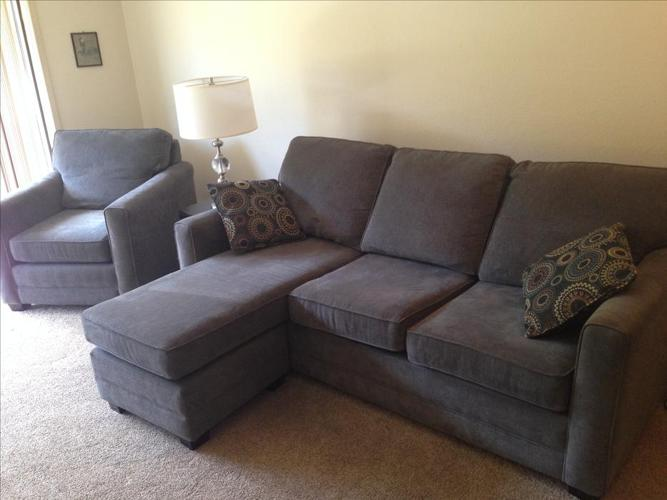 Simmons couch w/ sofa bed and matching chair with interchangable chaise