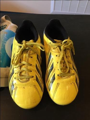 Size 1 Kids Adidas Soccer Shoes + Shin Guards for sale