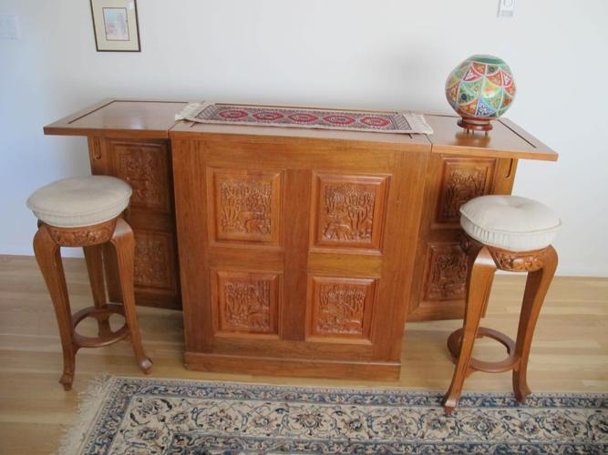 Solid Teak Counterbar and Stools
