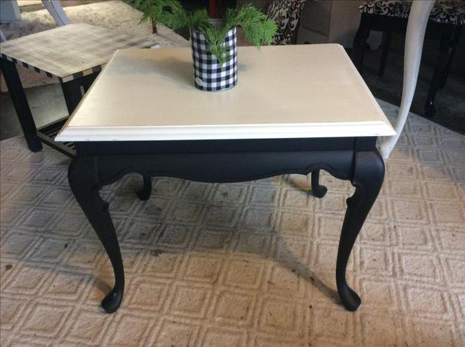 Solid wood black and white side table