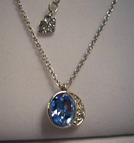 swarovski blue gloria necklace with the earing