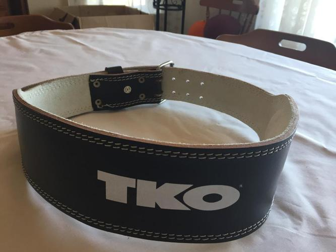 TKO padded leather weight lifting belt