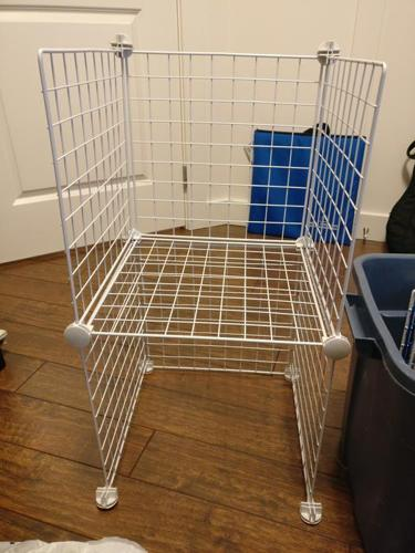 Two sets of wire cube storage shelves