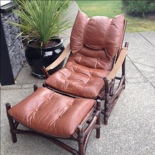Unique leather chair and foot stool