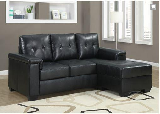 Urban Black Leather Small Condo Sectional Sofa