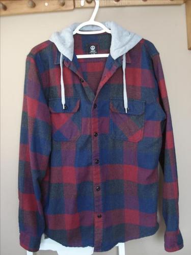 West49 Burgandy & Navy Flannel Hoody - Size L
