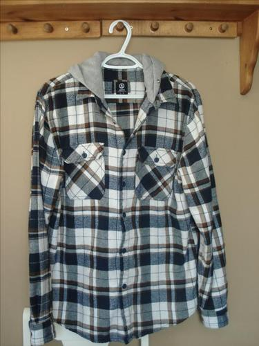 West49 Navy & Brown Flannel Hoody - Size L