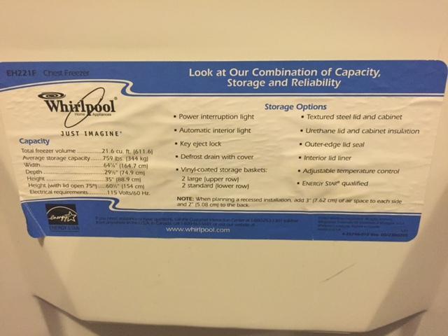 Whirlpool Chest Freezer