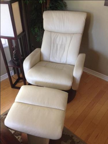 White Leather Chair & Foot Stool
