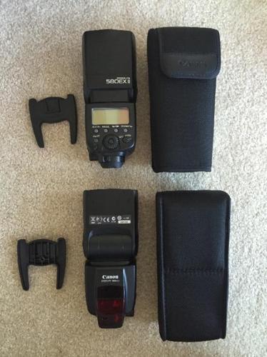 x2 Canon Speedlite 580EX II Flashes +wireless triggers & extras