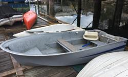 10' Hourston Glasscraft Owned for many years and recently upgraded to inflatable. Transom wrapped with aluminum and seats are beefed up. have had electric to 9.9hp on it and all work well. Very ocean worthy with a 9.9. Currently on dinghy dock at our