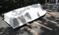 Fiberglass 10 foot long by 4 ft wide, with flared hull. could do with some sanding and paint but if you just want a fun lake boat could be used as is. Too many projects and not enough time.