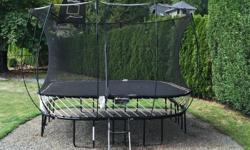 This is a five year old Springfree Trampoline in very good shape. There are no springs so safety is not a concern for little ones. There are a couple of smalls holes in the safety net thanks to an excited dog. One safety net rod broke so the unit is short