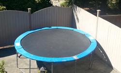 12 foot Jump Tek trampoline in good shape. selling as we upgraded to a larger one. Comes with poles for net...new net can be purchased from Canadian Tire.