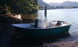 14' dory with 30 HP Yamaha 2 stroke precision blend (no mixing gas) on a aluminium trailer. Motor fully serviced- new spark plugs, carbs cleaned, new fuel filter, impeller replaced, new main seals on powerhead, fresh gear oil, steering removed- cleaned