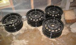 """I have 4 14"""" 4  bolt hole Honda Civic wheels for sale. These wheels where sand blasted, epoxy primed, and painted with urathane black and are better then new. Preped these wheels for my daughters car, but won't fit an """"Accord"""" .Little dusty from sitting"""