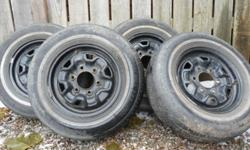 """14"""" rims off a 1990 2WD Isuzu Pickup. Will fit early 90's Mazda trucks and many more light trucks. 6 Bolt Pattern Good Condition Comes with summer tires, but they are no good. 195/75R/14 $75 obo"""