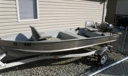 Great little fishing boat in mint condition. 8 hsp. 4-stroke yamaha (2005), electric kicker with 12 V battery included, upgrades for neat & tidy battery & gas can storage, padded swivel seats, rod holders, paddles, fishfinder, downriggers, cupholders,