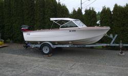 """15'6"""" HOURSTON RUN-A-BOUT with side wing windshield 50HP MERCURY 4 STROKE OUTBOARD c/w Operating Manual ROAD RUNNER TRAILER, galvanized 2000# c/w spare tire Extra items: Fish Finder, water pump parts and gaskets, misc. other parts and/or accessories."""