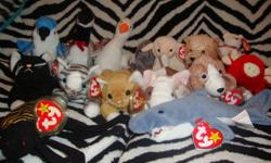 Selling 15 beanie babies: -Rocket -Spinner -Snort -Slippery -Prance -Loosy -Butch -Gracie -Zip -Nip -Sniffer -Teenie beanie Maple the Bear -Scampy -Crunch -Ewey They all have tags and are close to, if not mint condition. I'm asking for $60 OBO, or $4 or