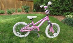 """Marin Tiny Trail 16"""" girls' bike - aluminum frame - front suspension - coaster brake and hand brake - kickstand - training wheels included (but not installed) In great condition. Price firm."""