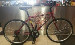 A great commuter bike for smaller riders, this Giant Sedona will take you to VIU or to the grocery store with ease. Relaxed geometry means a comfortable fit. Reconditioned with new cassette, chain, tires and spiffy red cables. 24 speeds. *** Head on down