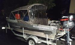 The boat has a 2003 65hp factory Mercury Jet and a similar vintage 4 hp 4stroke Yamaha kicker. It has an Eagle Depth Sounder that takes water temp, boat speed and depth. It has a Lewmar electric windlass with a large river anchor, 60' of chain and