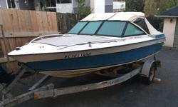 16.5' bow rider Hull and transom in excellent condition Floor is carpeted with no soft spots All safety equipment (including paddles) Lights work (front and rear) Stereo (4 speakers) New marine battery with warranty. Canvas top in decent shape for age.