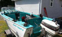 Classic boat electric start lots of character lots of extras starts and runs great no problems extra fuel tank 4 life jackets lots of storage papers for trailer spare tire. 1500.oo FCFS 250 802 5948