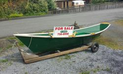 """A classic 16ft Gloucester Gull rowing dory for sale . Designed by Harold """"Dynamite"""" Payson Professionally built in 2010 by master shipwright and constructed from 3/8"""" ply. Two rowing stations and oars. See excellent write ups in Wooden Boat website."""