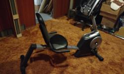Sitdown exercise bike. Barely used. Adjustable resistance on control panel. Heart rate indicator. Built in speaker with input jack and stand for MP3 player, iPod, Phone or tablet Runs off of battery.