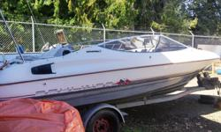 4 cylinder motor inboard, needs motor work, interior complete needs re-doing. Comes with trailer, nice looking boat. $1500 OBO complete.