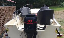 17' Whaler, 60hp Mercury Engine, galvanized Roadrunner trailer. Unit comes with Scotty down riggers (2), Lowrance sonar/gps LCX-18, custom boat and seat covers, Eagle fish finder, anchor system, cannon balls, net. Very good condition with engine carbs