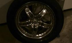 """Im sellin 4 17"""" American racing wheels which are in great shape! with michelin hydroedge tires 225/60/R17. The tires are also in good shape! They have about 10-15,000 kms on them. The wheels are off of my 99' cadillac deville and they will fit most GM"""