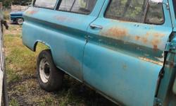 Make GMC Year 1964 Colour Sea foam green Trans Manual kms 1234 1964 GMC Suburban 4x4 3/4 ton diffs half-ton suspension Dana 44 front diff 14bolt rear diff 283 sbc T5 5speed trans Divorced NP205 transfer case Body is straight Has usual front floor pan rust